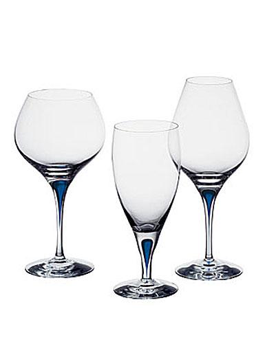 Orrefors Intermezzo Blue Bouquet Light Red Wine, Pair