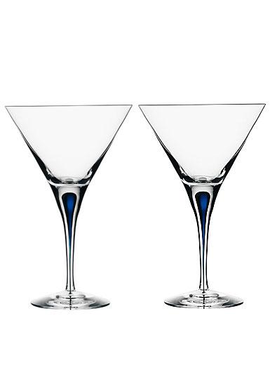 Orrefors Intermezzo Blue Martini, Pair