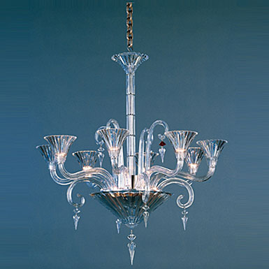 Baccarat Crystal, Mille Nuits 8 Light Chandelier, With Lighted Bowl