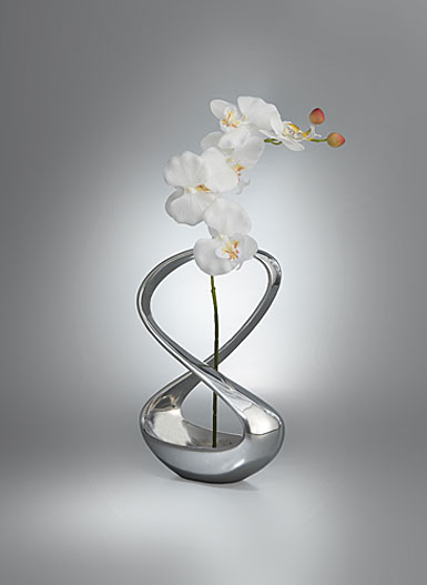 Nambe infinity vase with silk orchid cashs