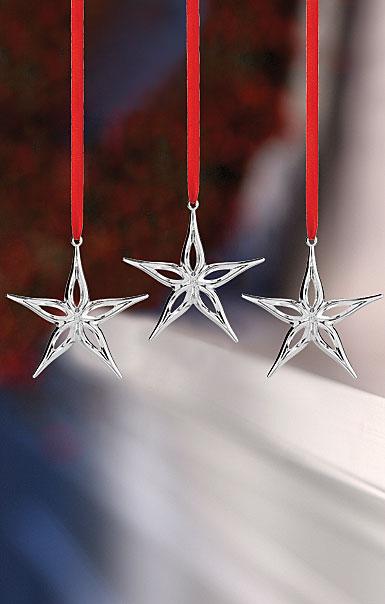 Nambe 2018 Mini Classic Modern Star Ornament, Set of Three