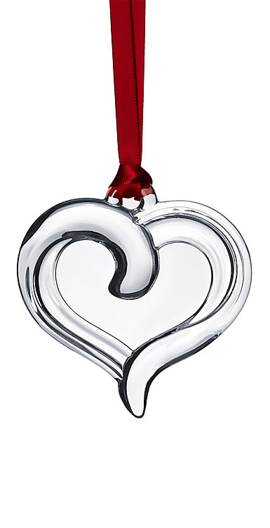 Orrefors Holly Days Heart Ornament, Clear
