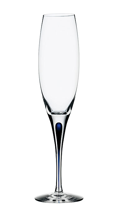Orrefors Intermezzo Blue Champagne Flutes