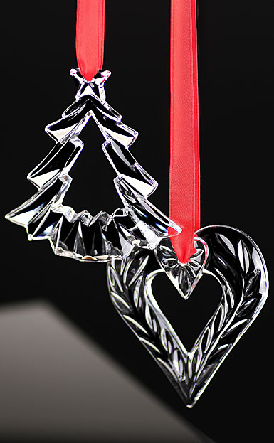 Orrefors Crystal, 2017 Holiday Heart and Tree Crystal Christmas Ornament Set
