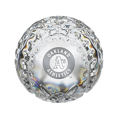Waterford Oakland Athletics Crystal Baseball