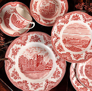 Johnson Brothers China Old Britain Castles Pink 5 Piece Set
