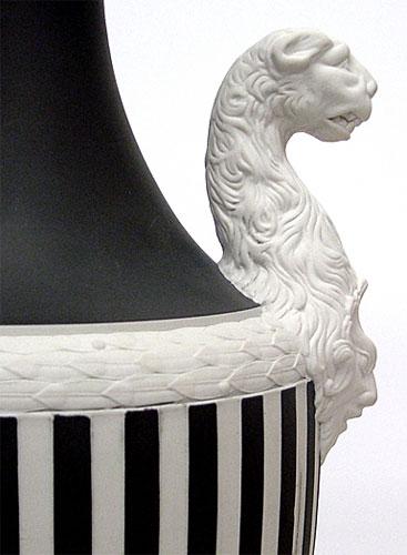 "Wedgwood Panther Vase Blck On White 16 1/2"""