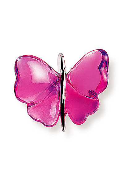 Lalique Papillon Silver Fuchsia Necklace