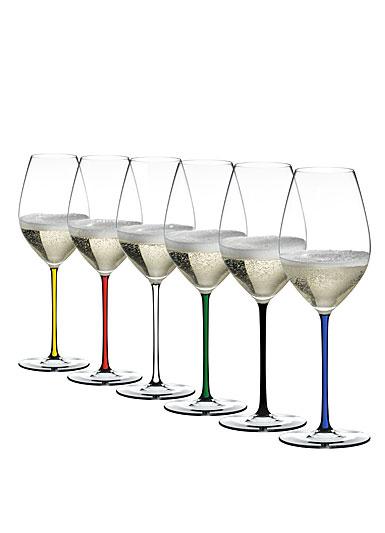 Riedel Fatto A Mano, Champagne Crystal Glasses, Set of 6