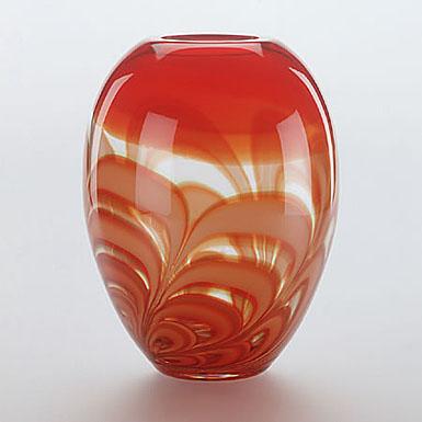 Waterford Evolution Red & Amber Ginger Vase