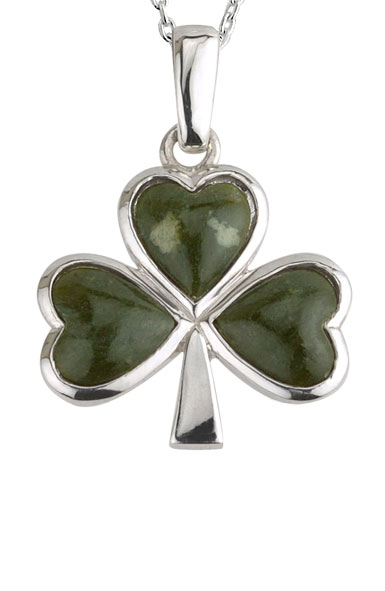 Cashs Ireland, Sterling Silver and Connemara Marble Large Shamrock Pendant Necklace