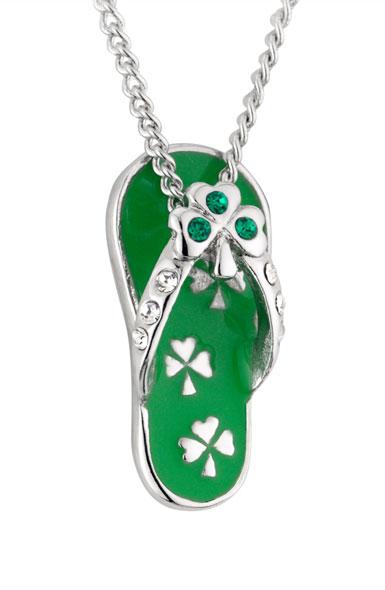 Cashs Ireland, Rhodium Lucky Shamrock Flip Flop Pendant Necklace