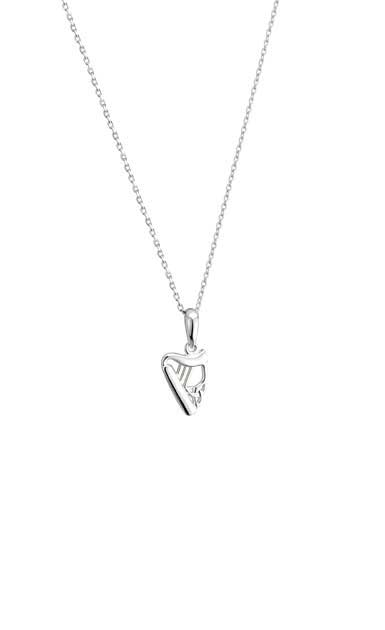 Cashs Ireland, Sterling Silver Small Harp Pendant Necklace