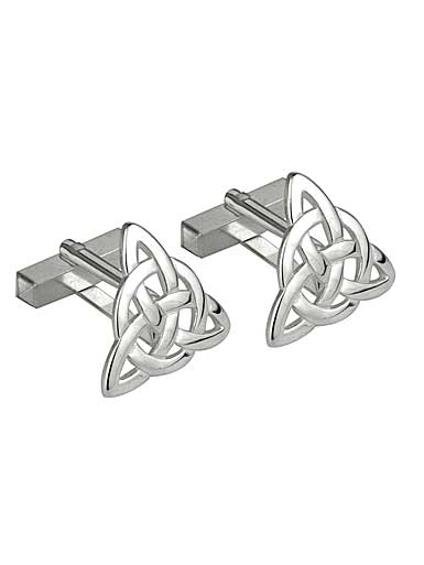 Cashs Ireland, Rhodium Triangle Celtic Knot Cufflinks Pair