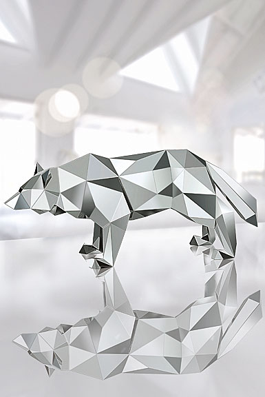 Swarovski Crystal, Wolf Sculpture By Arran Gregory