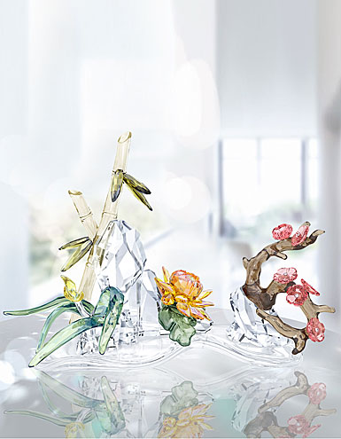 Swarovski Crystal, Four Noble Plants Sculpture