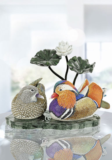 Swarovski Crystal Myriad Mandarin Duck Couple Sculpture