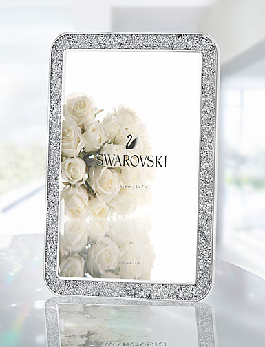 """Swarovski Minera Silver Tone 5x7"""" Picture Frame"""