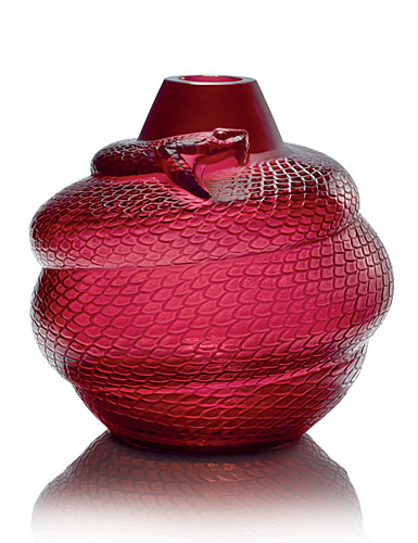 "Lalique Crystal, Red Serpent 9"" Crystal Vase"