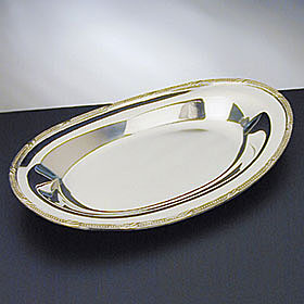 """Waterford Silver Beaded Acanthus 12"""" Bread Tray"""