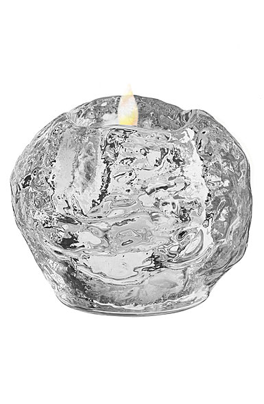Kosta Boda Nordic Light Snowball Crystal Votive, Single