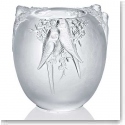 "Lalique Perruches 9"" Vase, Limited Edition"