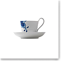 Royal Copenhagen, Blue Fluted Mega High Handle Cup and Saucer #2 8.5oz.