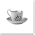 Royal Copenhagen, Black Fluted Mega High Handle Cup and Saucer