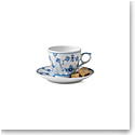 Royal Copenhagen, Blue Fluted Plain Espresso Cup and Saucer Set