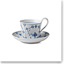 Royal Copenhagen, Blue Fluted Plain High Handle Cup and Saucer 8.5oz.