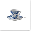 Royal Copenhagen, Blue Fluted Full Lace Coffee Cup and Saucer 5oz.