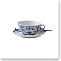 Royal Copenhagen, Blue Fluted Full Lace Tea Cup & Saucer 7.5oz.