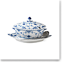 Royal Copenhagen, Blue Fluted Full Lace Gravy Boat With Stand 13.5oz.