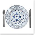 "Royal Copenhagen, Blue Fluted Full Lace Cake Plate 9.75"" With Open Border"