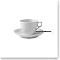 Royal Copenhagen, White Fluted Half Lace Coffee Cup and Saucer 5.75oz.