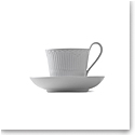 Royal Copenhagen, White Fluted Half Lace High Handle Cup & Saucer 8.5oz.