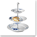 Royal Copenhagen, Blue Fluted Mega 3 Tier Etagere 13.75""
