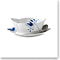 Royal Copenhagen, Blue Fluted Mega Gravy Boat With Stand 18.5oz.