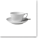 Royal Copenhagen, White Fluted Tea Cup & Saucer 9.25oz.