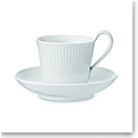 Royal Copenhagen, White Fluted High Handle Cup & Saucer 8.35oz.