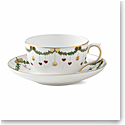 Royal Copenhagen, Star Fluted Christmas Teacup and Saucer 10.75oz.