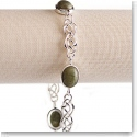 Cashs Ireland, Sterling Silver and Connemara Marble Celtic Knot Soft Bracelet