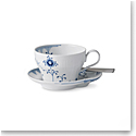 Royal Copenhagen, Blue Elements Teacup and Saucer 8.75oz.