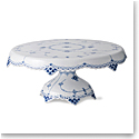 Royal Copenhagen, Blue Fluted Half Lace Cake Stand 12.25""