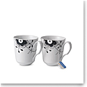 Royal Copenhagen, Black Fluted Mug Pair 12.25oz.