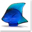 Lalique Crystal, Ferrat Blue Luster Fish Sculpture
