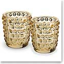 Lalique Mossi Gold Luster Crystal Votives, Pair