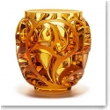 "Lalique Crystal, Tourbillons 8 1/8"" Amber Crystal Vase, Limited Edition"