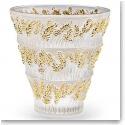 Lalique Crystal, Provence Crystal Vase, Gold Stamped