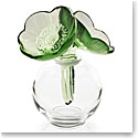 Lalique Crystal, Two Anemones Crystal Perfume Bottle, Green And White Enamelled